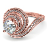 Double Halo Swirling Diamond Engagement Ring in Rose Gold | Thumbnail 04