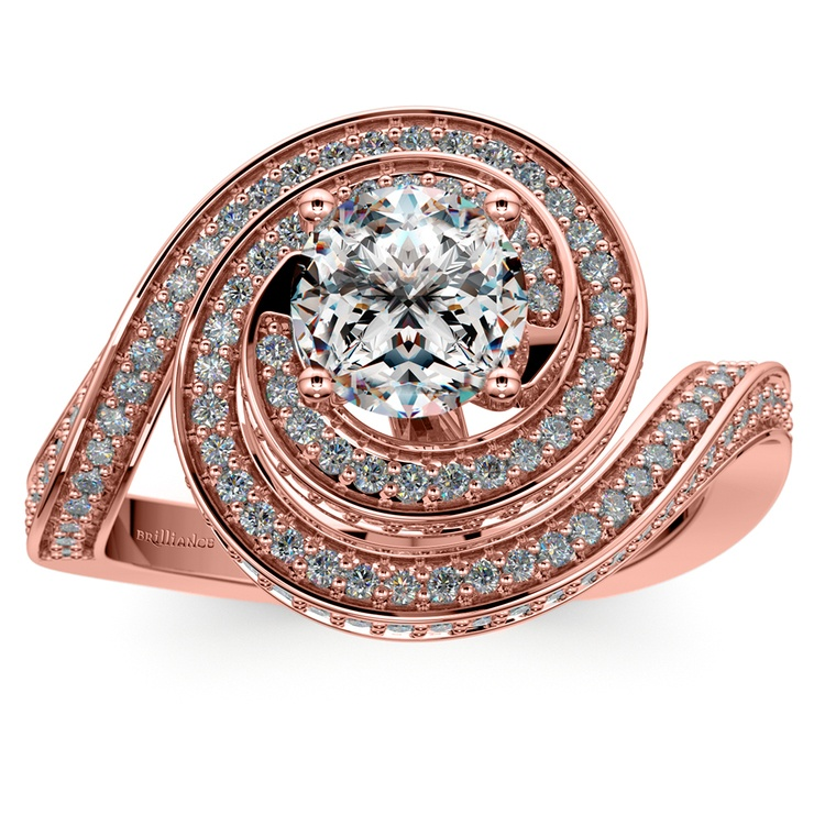 Double Halo Swirling Diamond Engagement Ring in Rose Gold | 01