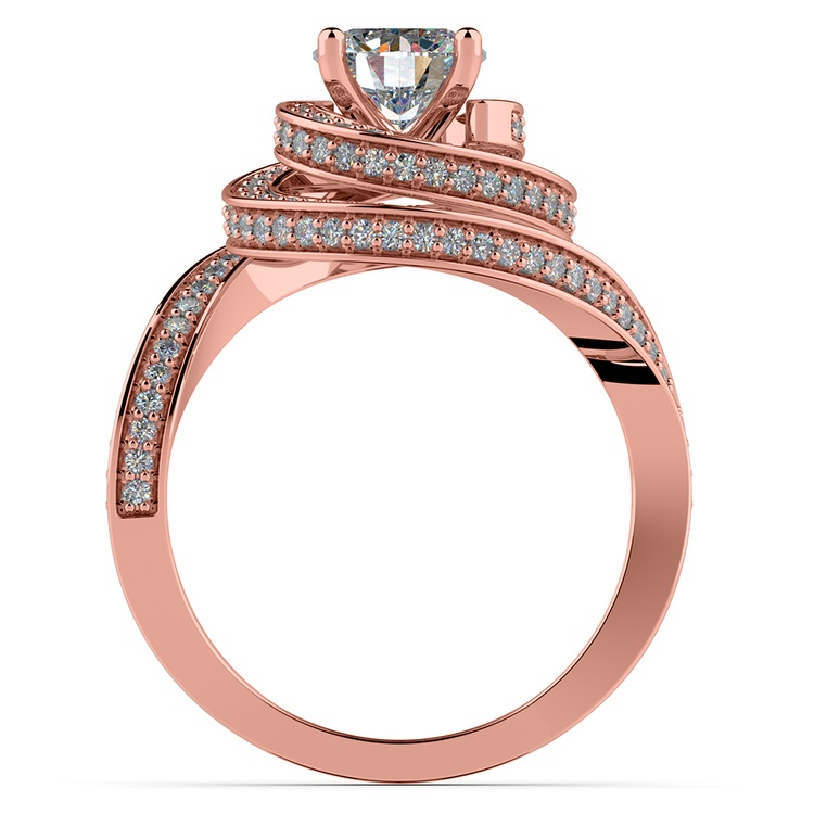 Double Halo Swirling Diamond Engagement Ring in Rose Gold | 02