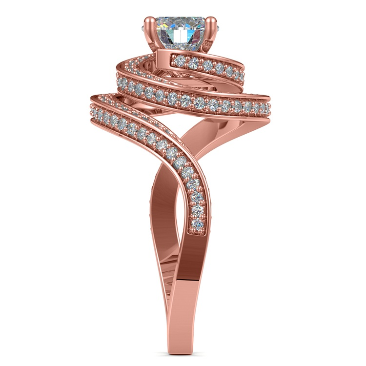 Double Halo Swirling Diamond Engagement Ring in Rose Gold | 03