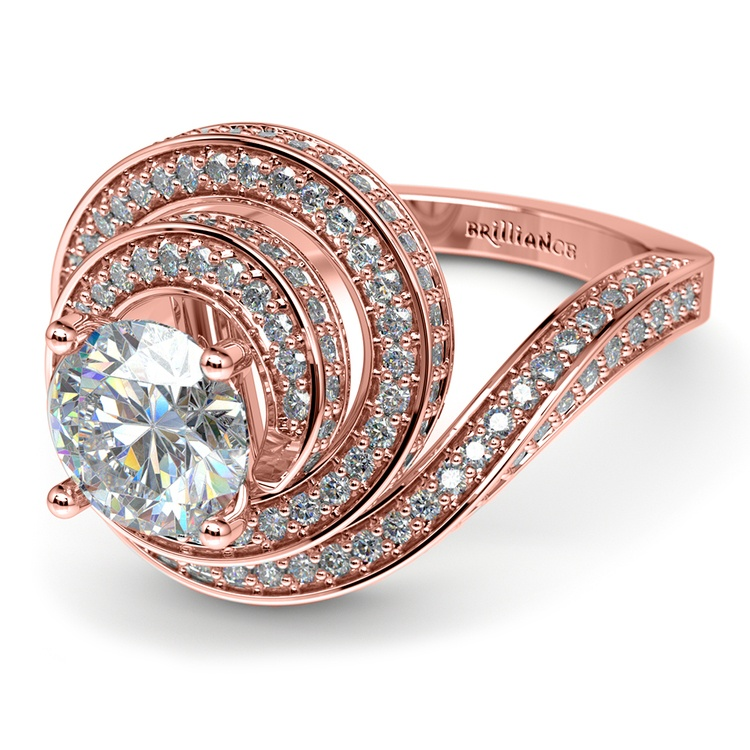 Double Halo Swirling Diamond Engagement Ring in Rose Gold | 04