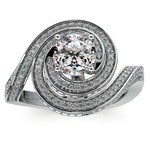 Double Halo Swirling Diamond Engagement Ring in White Gold | Thumbnail 01