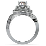 Double Halo Swirling Diamond Engagement Ring in White Gold | Thumbnail 02