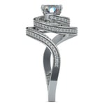 Double Halo Swirling Diamond Engagement Ring in White Gold | Thumbnail 03