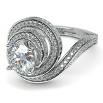 Double Halo Swirling Diamond Engagement Ring in White Gold | Thumbnail 04