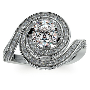 Double Halo Swirling Diamond Engagement Ring in White Gold