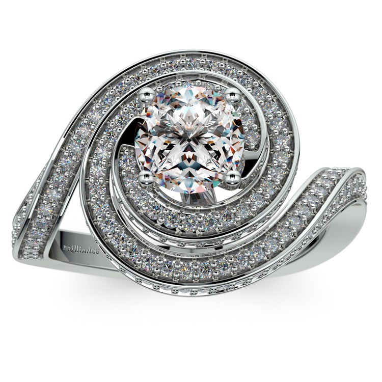 Double Halo Swirling Diamond Engagement Ring in White Gold | 01