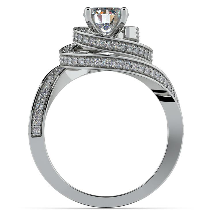 Double Halo Swirling Diamond Engagement Ring in White Gold | 02