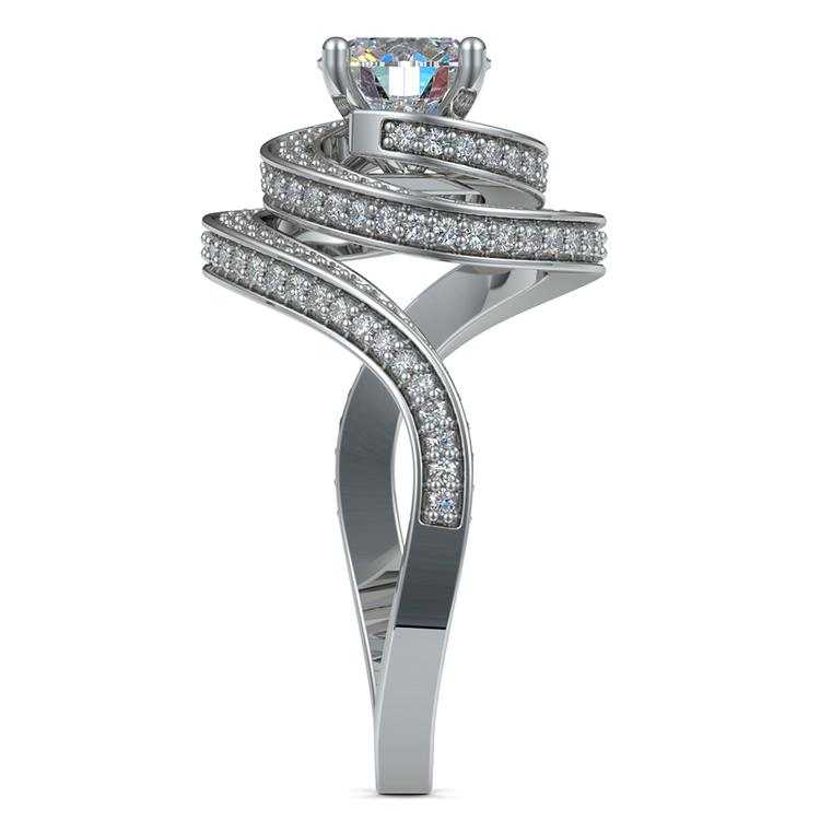 Double Halo Swirling Diamond Engagement Ring in White Gold | 03