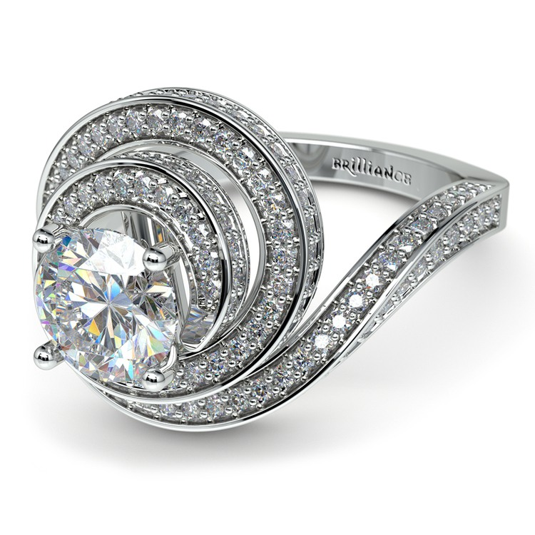 Double Halo Swirling Diamond Engagement Ring in White Gold | 04