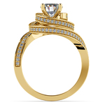 Double Halo Swirling Diamond Engagement Ring in Yellow Gold | Thumbnail 02