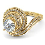 Double Halo Swirling Diamond Engagement Ring in Yellow Gold | Thumbnail 04