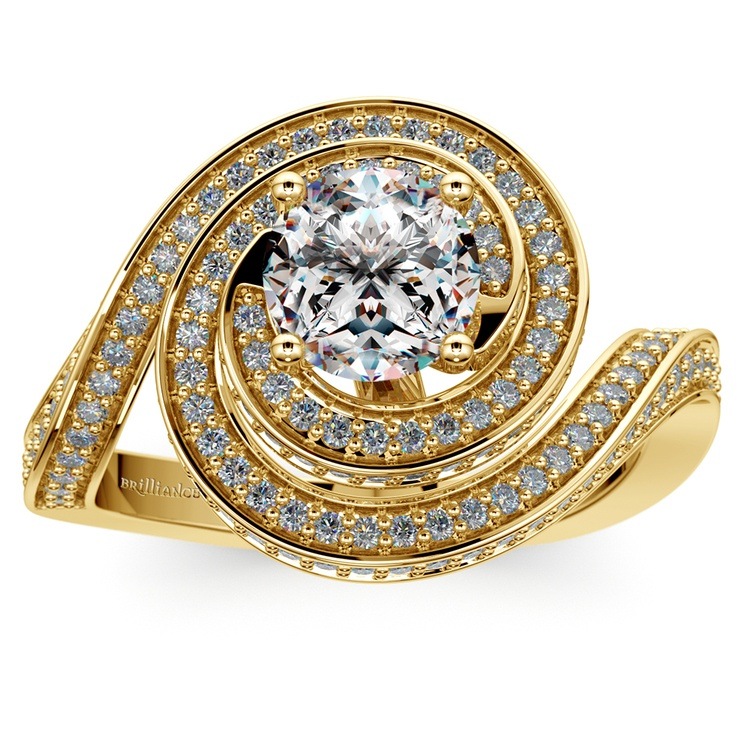 Double Halo Swirling Diamond Engagement Ring in Yellow Gold | 01