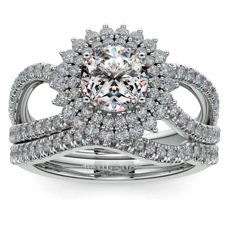 Sunburst Engagement Ring With Wedding Band In Platinum | 01