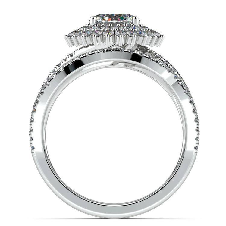 Sunburst Engagement Ring With Wedding Band In Platinum | 02
