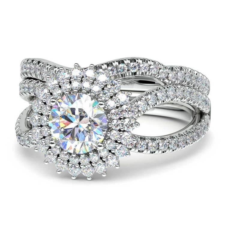 Sunburst Engagement Ring With Wedding Band In Platinum | 04
