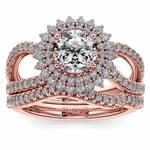 Sunburst Engagement Ring With Wedding Band In Rose Gold   Thumbnail 01
