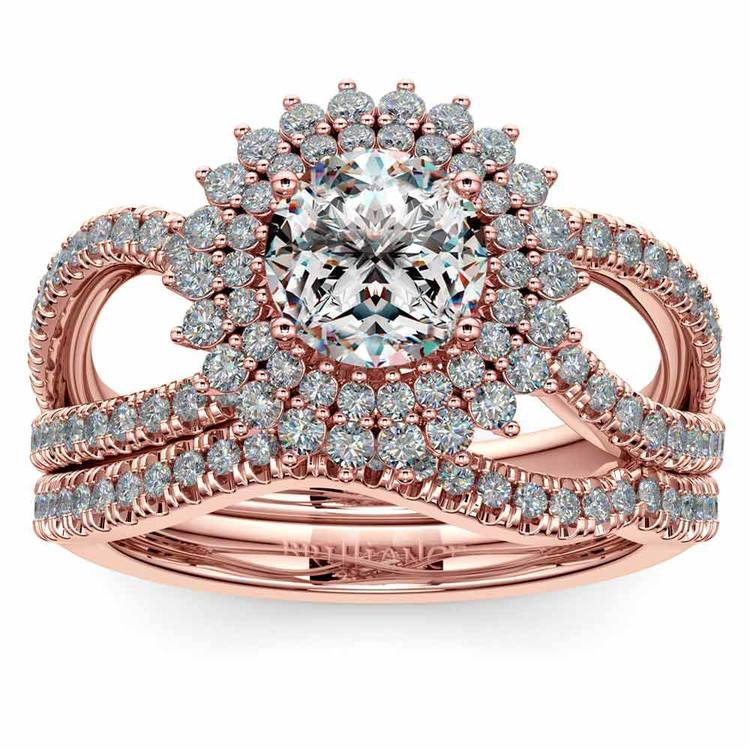 Sunburst Engagement Ring With Wedding Band In Rose Gold   01