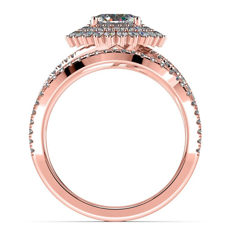Sunburst Engagement Ring With Wedding Band In Rose Gold   02