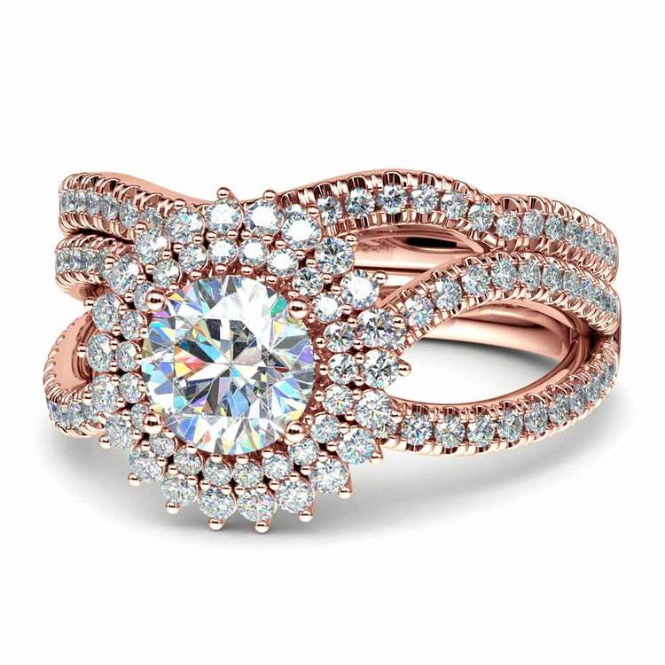 Sunburst Engagement Ring With Wedding Band In Rose Gold   04