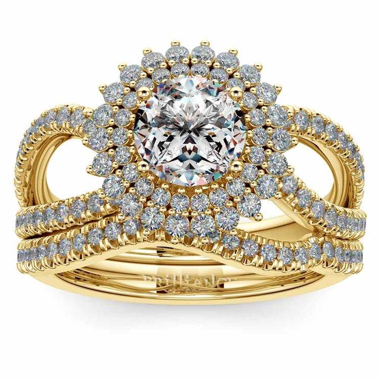 Sunburst Engagement Ring With Wedding Band In Yellow Gold | 01