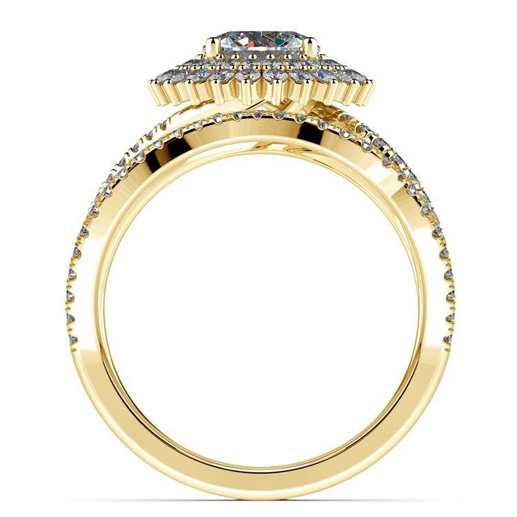 Sunburst Engagement Ring With Wedding Band In Yellow Gold | 02