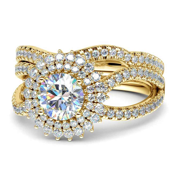 Sunburst Engagement Ring With Wedding Band In Yellow Gold | 04