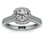 Sunrise Halo Diamond Engagement Ring In Platinum | Thumbnail 01