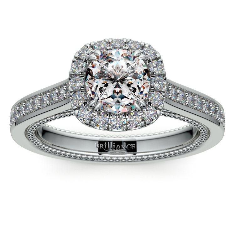 Sunrise Halo Diamond Engagement Ring In Platinum | 01