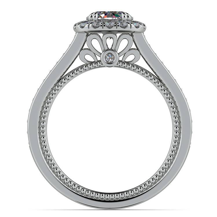 Sunrise Halo Diamond Engagement Ring In Platinum | 02