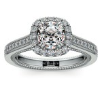 Sunrise Halo Diamond Engagement Ring in White Gold | Thumbnail 01