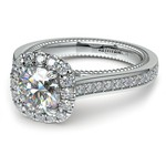 Sunrise Halo Diamond Engagement Ring in White Gold | Thumbnail 04