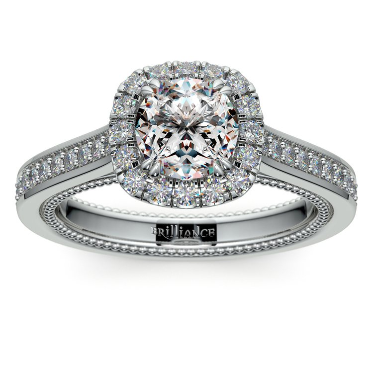Sunrise Halo Diamond Engagement Ring in White Gold | 01