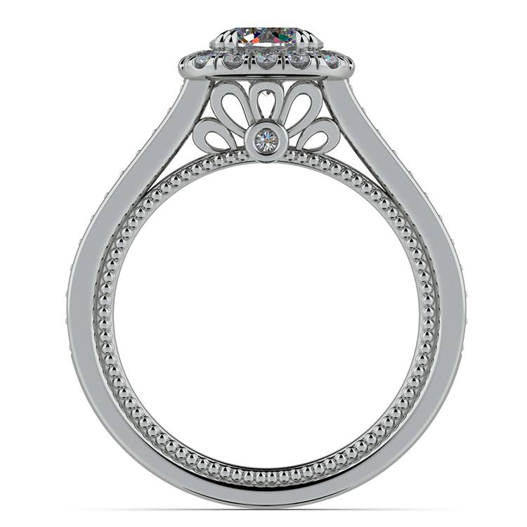 Sunrise Halo Diamond Engagement Ring in White Gold | 02