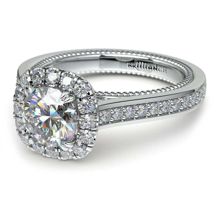 Sunrise Halo Diamond Engagement Ring in White Gold | 04