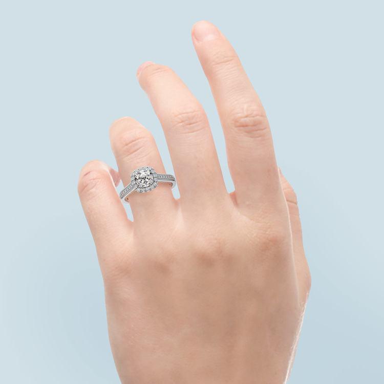 Sunrise White and Rose Gold Halo Engagement Ring | 06