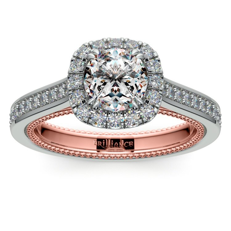 Sunrise Halo Diamond Engagement Ring in White & Rose Gold | 01