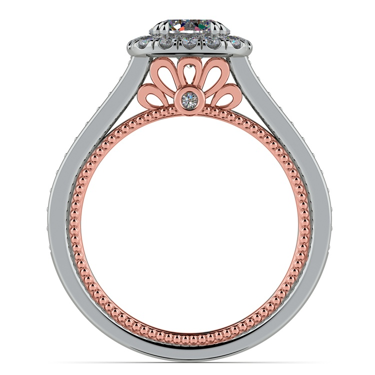 Sunrise Halo Diamond Engagement Ring in White & Rose Gold | 02
