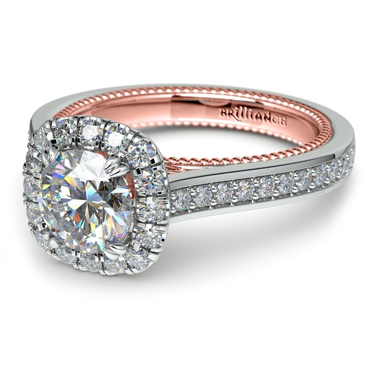 Sunrise Halo Diamond Engagement Ring in White & Rose Gold | 04