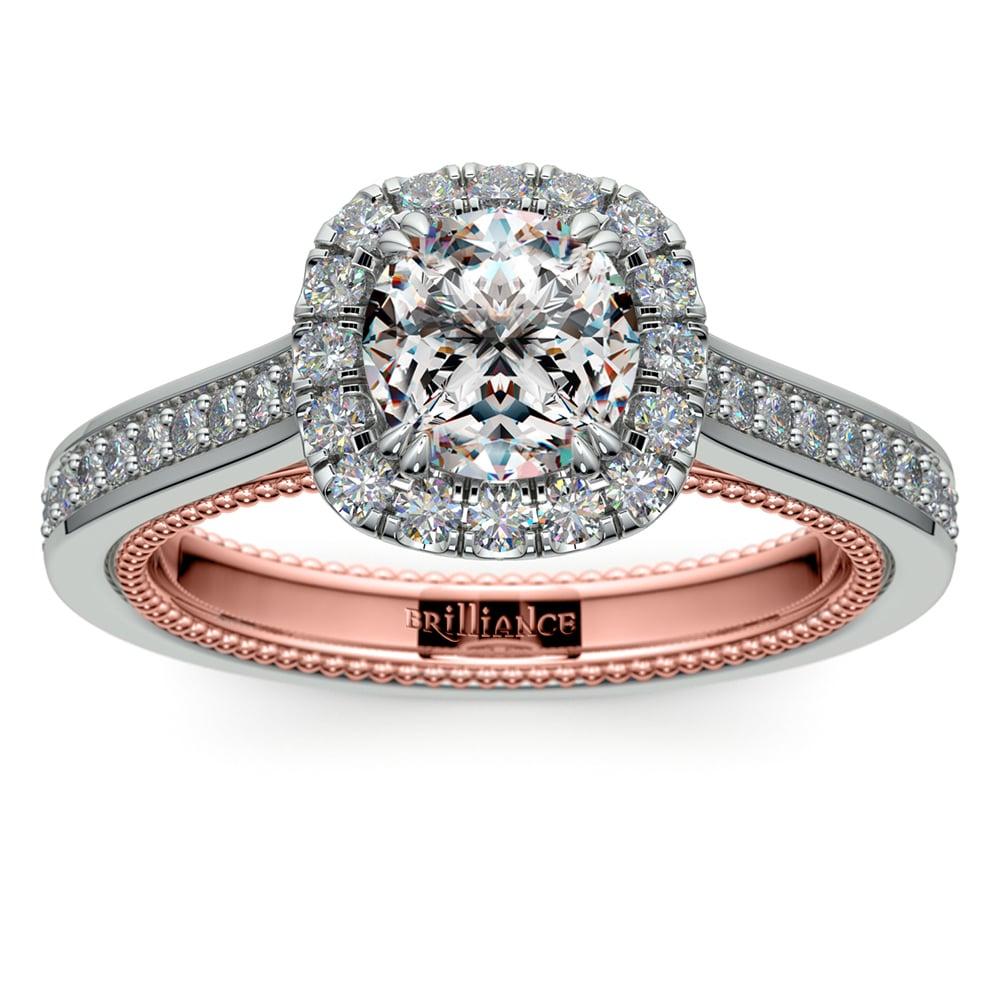 Sunrise Halo Diamond Engagement Ring In White Rose Gold