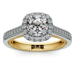 Sunrise Halo Diamond Engagement Ring in White & Yellow Gold | Thumbnail 01