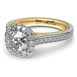 Sunrise Halo Diamond Engagement Ring in White & Yellow Gold | Thumbnail 04
