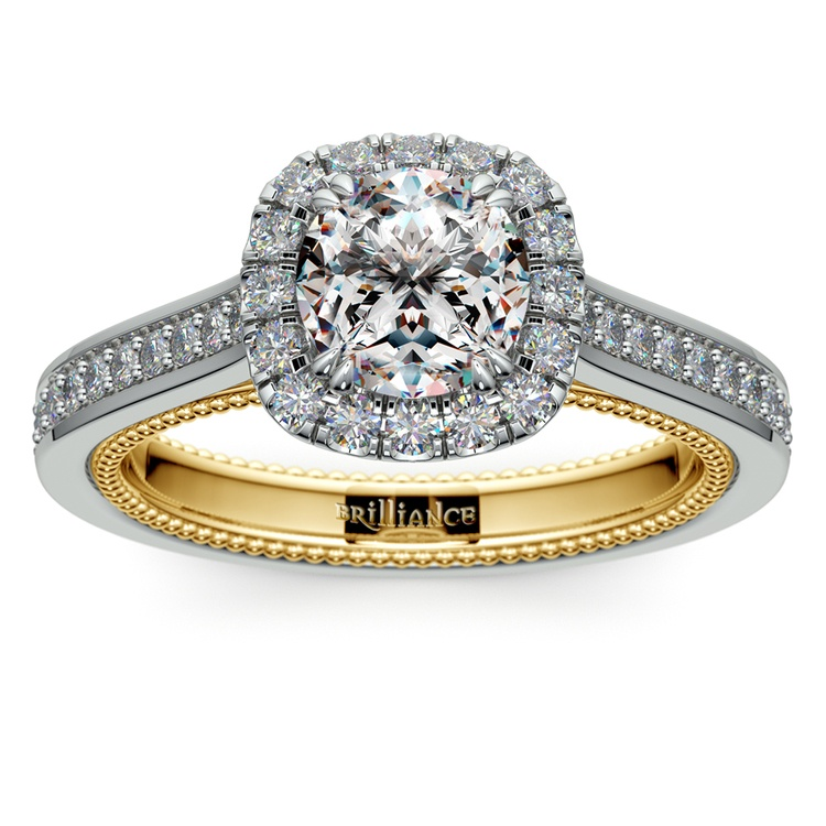 Sunrise Halo Diamond Engagement Ring in White & Yellow Gold | 01