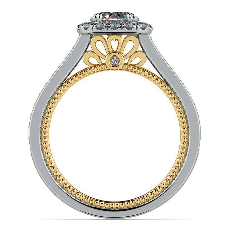 Sunrise Halo Diamond Engagement Ring in White & Yellow Gold | 02