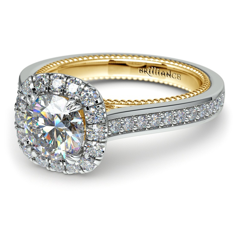 Sunrise Halo Diamond Engagement Ring in White & Yellow Gold | 04