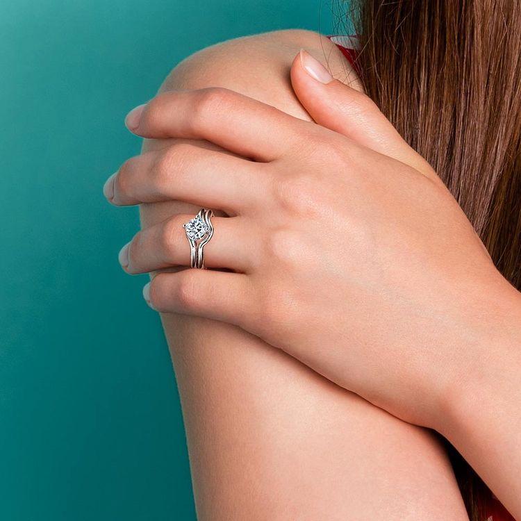 Swirl Diamond Engagement Ring & Wedding Band Set In Platinum  | 07