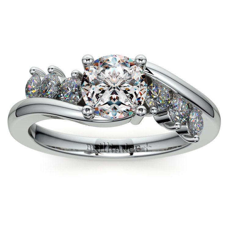 Swirl Style Diamond Engagement Ring in Platinum | 01