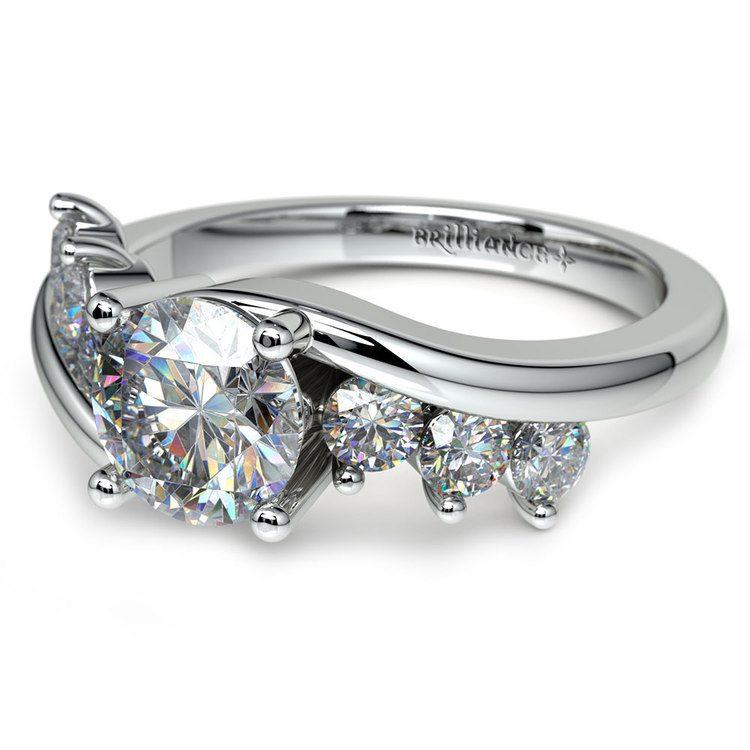 Swirl Style Diamond Engagement Ring in Platinum | 04