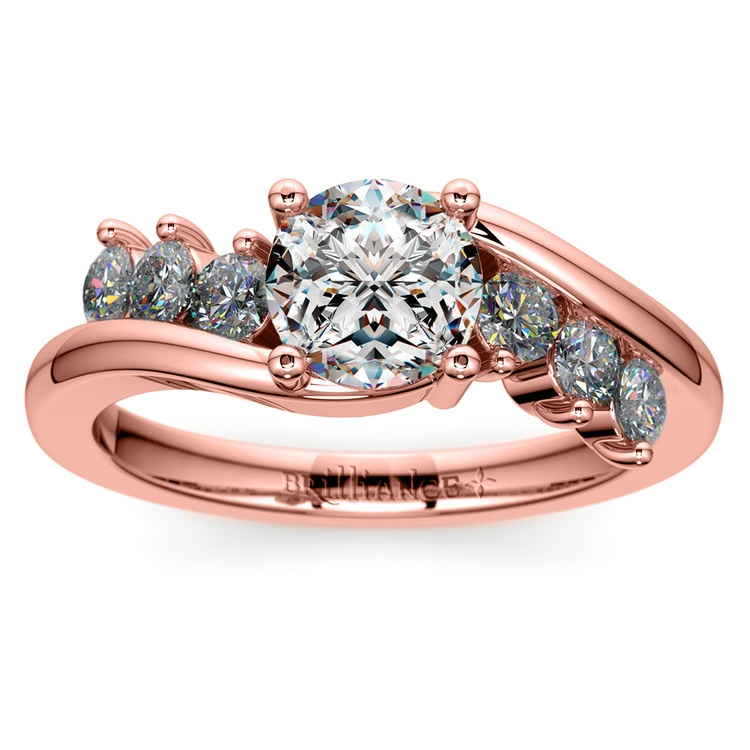 Swirl Style Diamond Engagement Ring in Rose Gold | 01