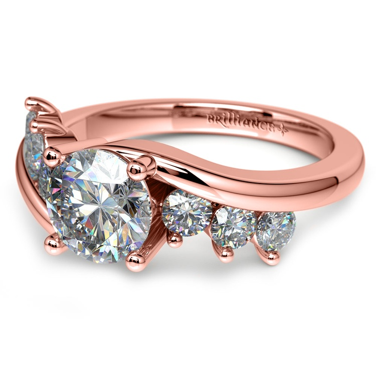 Swirl Style Diamond Engagement Ring in Rose Gold | 04